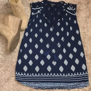 Lucky Brand Blue & White Geo Pattern Tank Top